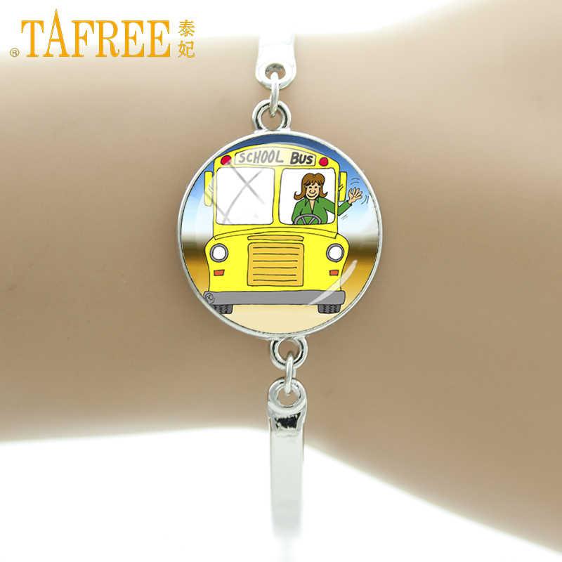 TAFREE London Double Decker Bus Embroidery Bracelets school bus Van Bus Vector Glass Cabochon Jewelry H164