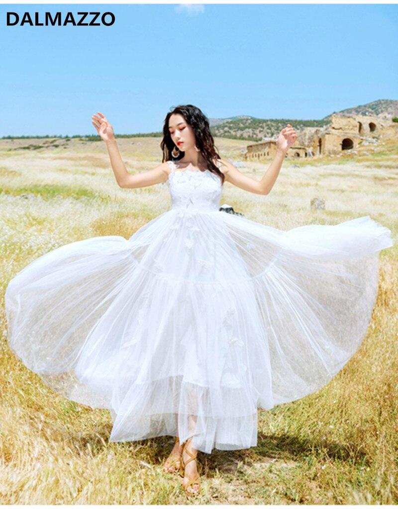 2018 été Design blanc dentelle maille papillon vacances Boho Swing longue robe femmes Spaghetti sangle Slash cou robe