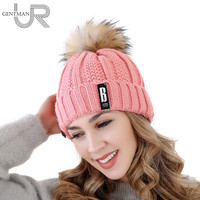 High Quality Letter B Cotton   Beanies   Hat Add Wool Fur Lining Ball Cap Pompom Winter Hat For Women Girls Warm Knitted Hat