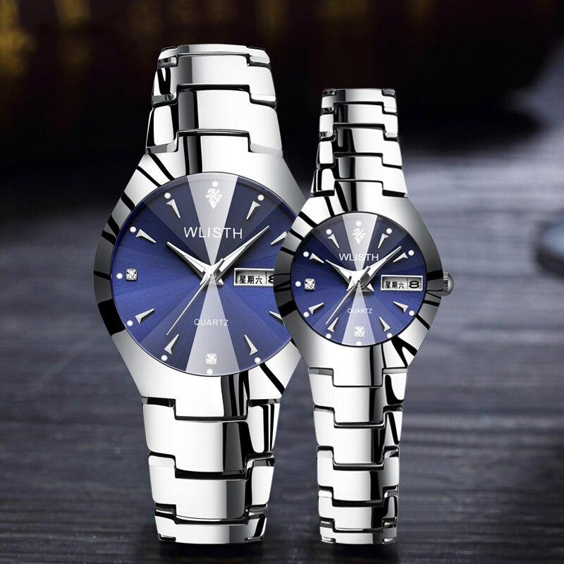WLISTH New Luxury Lover Watches Quartz Double Calendar Women Men Watch Couples Wristwatch Relojes Hombre 2019