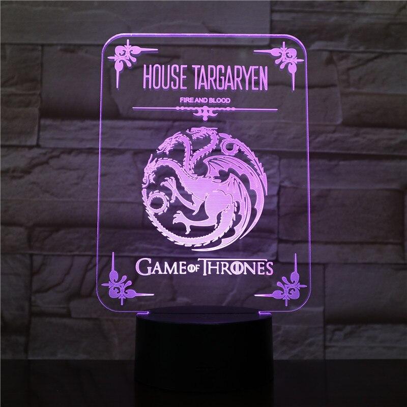 House Targaryen Logo Desk Lamp Bedside Touch Sensor 7 Color Changing Child Kids Blood And Fire Game Of Thrones LED Night Light