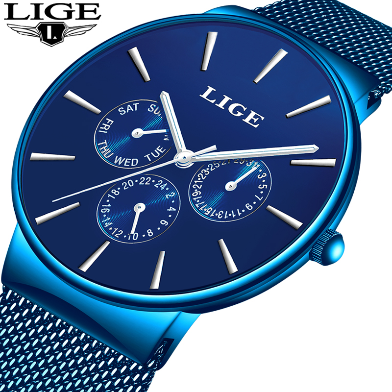 Relogio Masculino 2019 LIGE Casual Fashion Top Brand Luxury Men Watches Waterproof Ultra Thin Wrist Watch