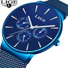 2019 LIGE Men Watch Top Brand Luxury Mens Casual Waterproof Ultra Thin