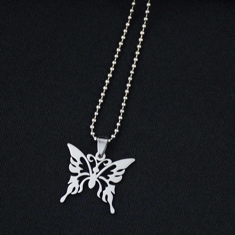 Fashion Hollow Butterfly Stainless Steel Necklace Silver Chain Trendy Pendant For Women Men Best Quality Cool Punk Party Jewelry