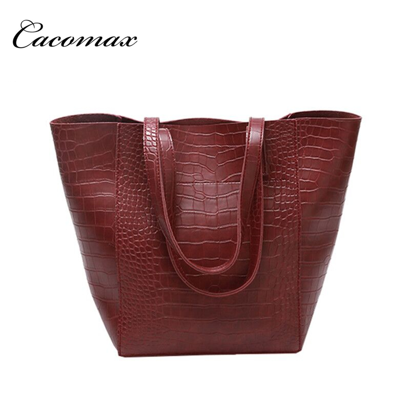 2017 Women bag female Fashion wild bucket package simple crocodile pattern big bag leisure shoulder Messenger bag Bolsa feminina
