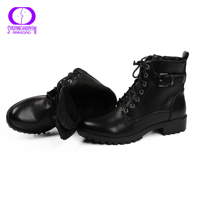 European Style Black Ankle Boots Flats Round Toe Black Zip Martin Boots PU Leather Woman Shoes With Warm Plush 2