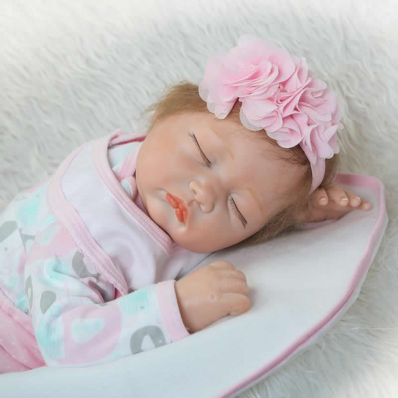 Simulation Reborn Babies 22 Inch Fashion Soft Silicone Newborn Baby Doll Handmade Lifelike Alive Doll Kids Birthday Xmas Gift can sit and lie 22 inch reborn baby doll realistic lifelike silicone newborn babies with pink dress kids birthday christmas gift