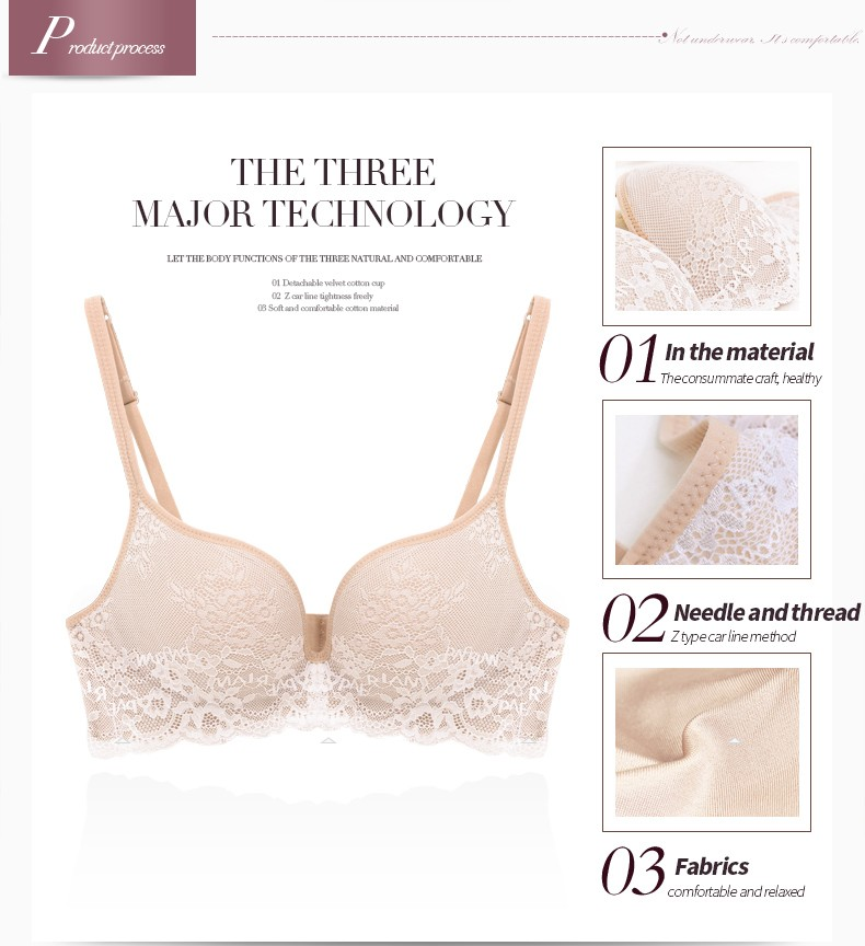 PAERLAN Seamless Wire Free lace bra small breasts Push Up One - Piece sexy Back Closure Tow Hook - and - eye underwea Women Cup 9