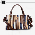 Бесплатная доставка 2016 Новый стиль мода топ дизайн шить полосой пакеты высокое качество женщин сумки