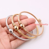 3pcs Set Delicate Jewelry 316L Stainless Steel Silver Gold Rose Gold Twisted Cable Wire Beads Chain