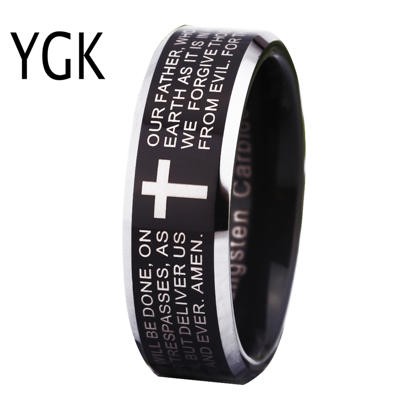 Free Shipping Wholesales Cheap Price Jewelry USA Hot Sales 8mm Mens Tungsten Ring Comfort Fit Cross Bible Lords Prayer Wedding ...