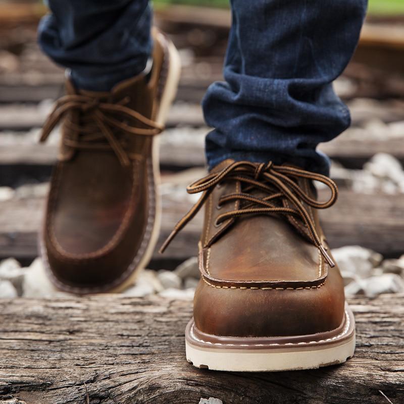 Maden Crazy Horse Botas de cuero Martin Low-top Hombres Zapatos - Zapatos de hombre