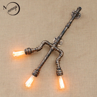 Loft Industrial Trident iron rust Water pipe retro wall lamp with switch Vintage E27 LED sconce lights for living room bathroom