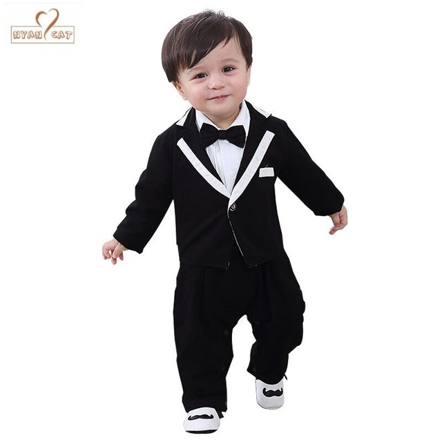 NYAN CAT Baby boy clothes gentleman 2019 New baby long-sleeved baby suit  for 0-6-year clothes Wedding Party Wear birthday Gift f7fb1f6340e1