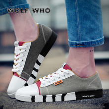ウルフwho男性デニムキャンバスシューズ男性フラットカジュアルシューズ流行男スニーカーレースアップ学生靴zapatos hombre x 059