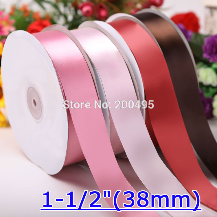 """[IuBuFiGo] 1-1/"""" атласная лента 38 мм двойное украшение для свадьбы подарок лента набор 100 ярдов/Лот"""