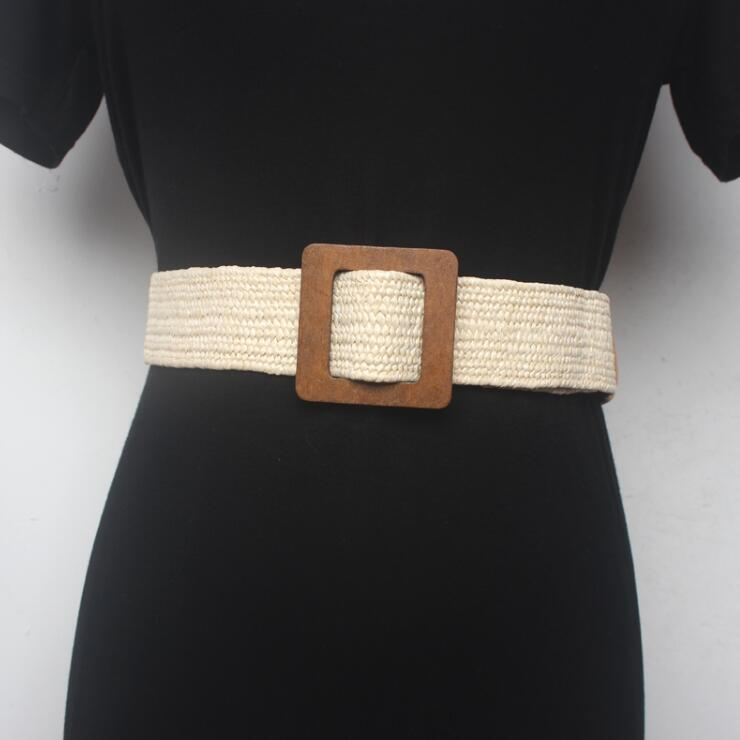 Women's Runway Fashion Wood Buckle Knitted Cummerbunds Female Dress Corsets Waistband Belts Decoration Wide Belt R1529