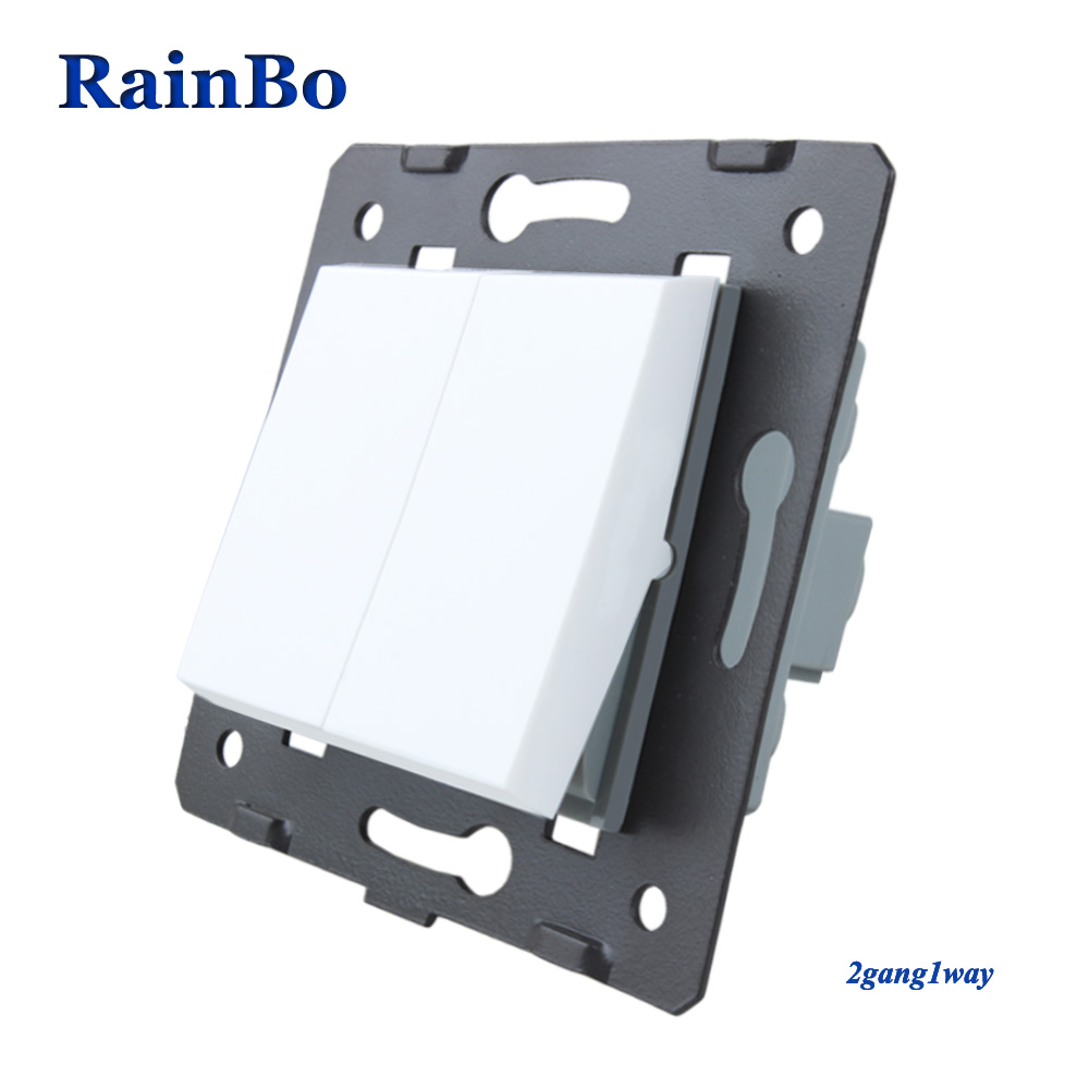 RainBo 2gang1way Button switch Parts White Plastic Materials DIY Accessory Function Key Wall switch EU Standard A721W
