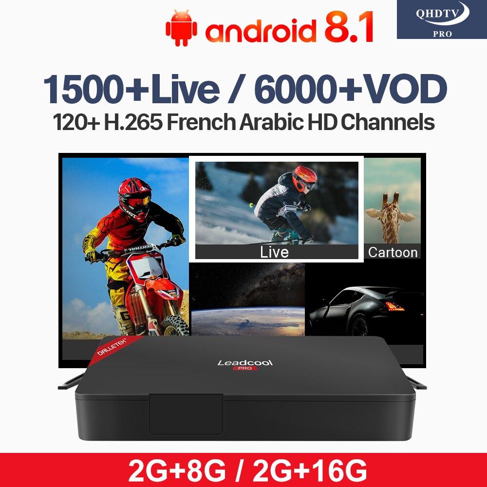 Subscription Arabic IPTV Leadcool Pro Android 8.1 RK3229 Algeria Tunisia H.265 Decoder IPTV 1 Year QHDTV Pro 2G+8G 2G+16G Box
