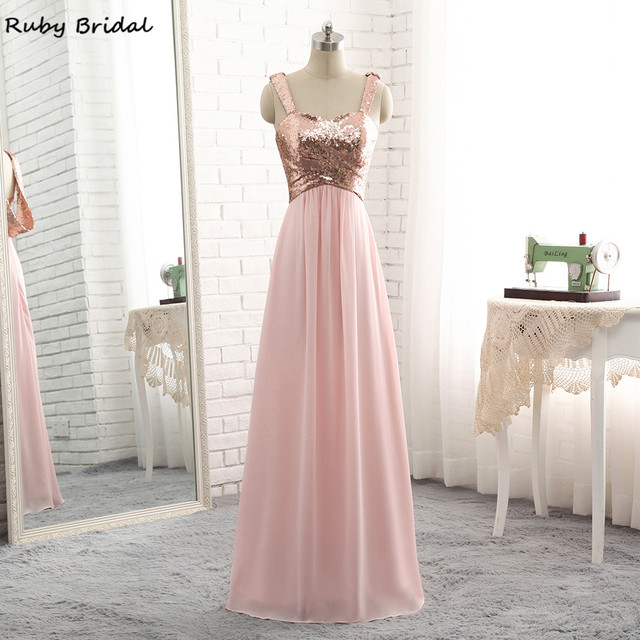 Ruby Bridal Luxury Long A-line Evening Dresses Cheap Rose Gold Chiffon  Pleats Vestido De Festa Strapless Prom Party Gown R302 541b81f1f27d