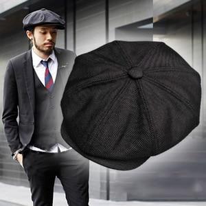 Image 1 - Casquette Four Seasons Cotton And Linen Black Mens Newsboy Hat Male Beret Men And Women Retro England Visor Big Head Cap BLM20