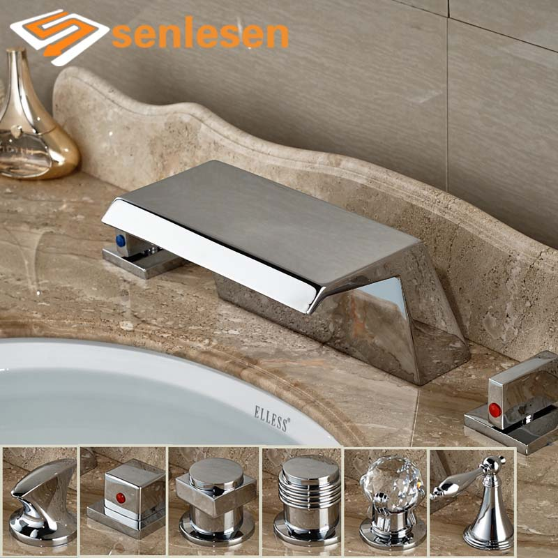Wholesale And Retail Chrome Widespread Waterfall Spout Bathroom Basin Faucet Deck Mounted Sink Mixer Tap wholesale and retail chrome finish bathroom wall mounted basin sink countertop faucet