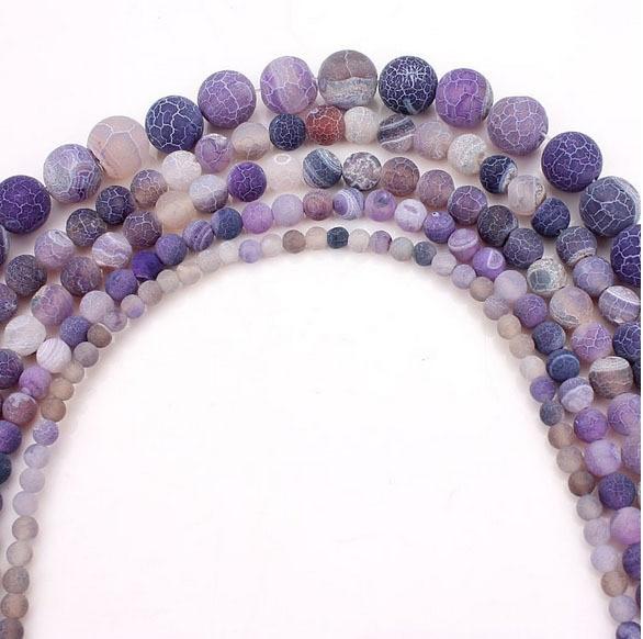 Top prodaja svetlobe vijolična barva krog mat naravni kamen kroglice za DIY nakit izdelavo ogrlica zapestnico