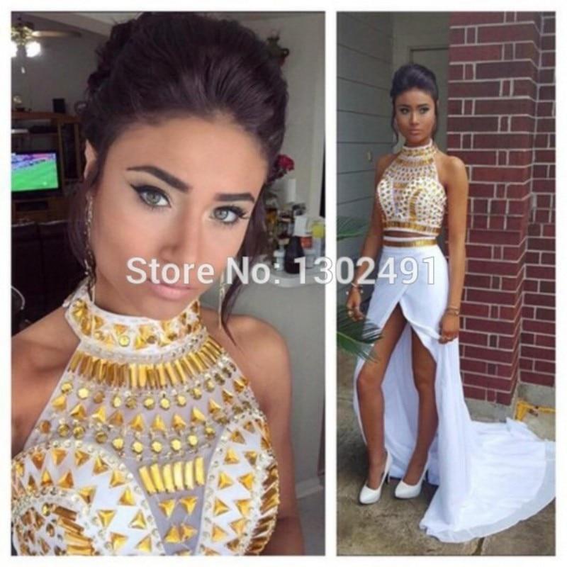Vestidos de fiesta Blanco Y Oro de Dos Piezas 2017 de la Nueva Llegada de Cuello