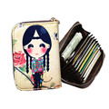 Genuine Leather Women Card Holder Wallets  Lovely Character Female Pillow Purse Fashion Zipper Credit Card Bag The Cover Of