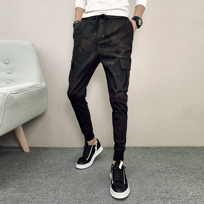 Fashion Korean Slim Fit Pants Men Brand New Side Pockets Harem Pants Boys Streetwear Camouflage Print Mens Joggers Trousers Male