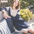 CherLemon New Royal Women Nightdress Female Spring Cotton Lace Nightwear Lovely Princess Nightgown Vintage Girls Sleepshirt