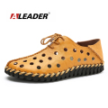 Aleader Handmade Men Leather Shoes Casual Loafers 2016 Summer Shoes for Men Flats Breathable Slip On Driving Shoes Moccassins
