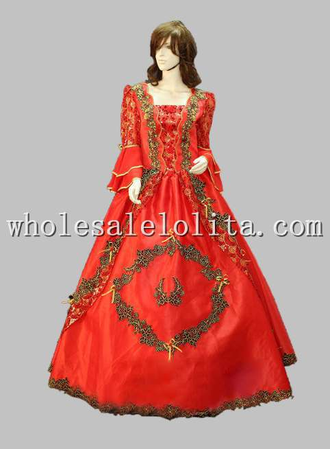 Halloween Cosplay Red Noble Court Princess Sissi Dress Wedding  Long Party Dress