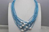 Ücretsiz kargo>>>>> white10x12mm tatlısu İnciler 15 strands taş Mavi deri kordon kolye
