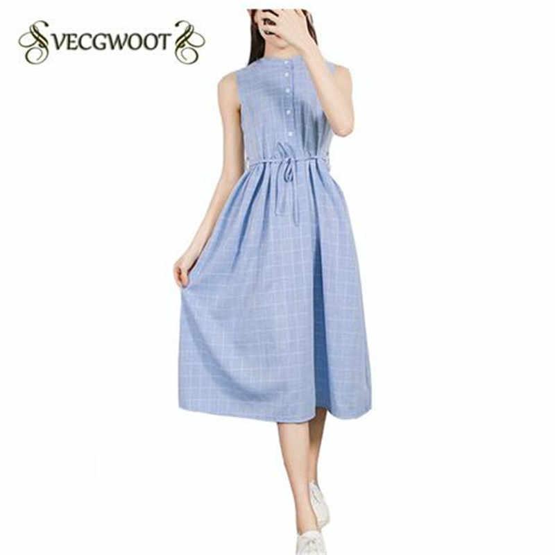Платья летнее женское платье без рукавов 2017 новое повседневное хлопковое покрывало средней длины женское платье s-xl WON190