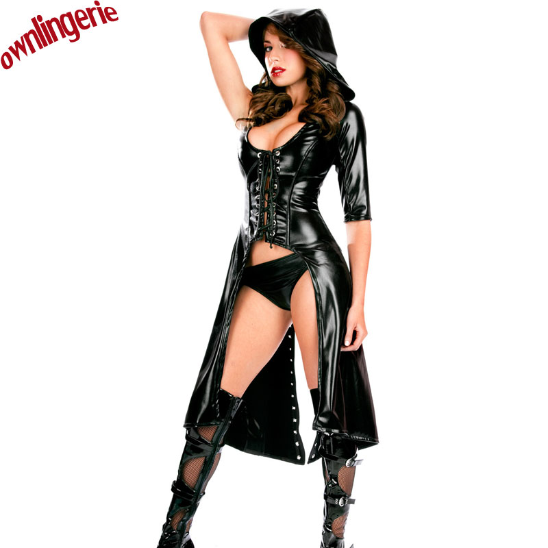 <font><b>Sexy</b></font> black vinyl leather <font><b>women</b></font> hooded club <font><b>dress</b></font> coat,one half sleeve DS jazz dance wear <font><b>halloween</b></font> coat,bandage front and back image