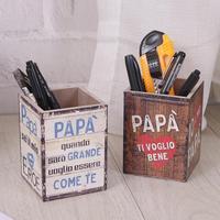 Creative Retro Holder Pen Holders School Office Students Pencil Wood Desktop Storage Box Gift Retro Holders
