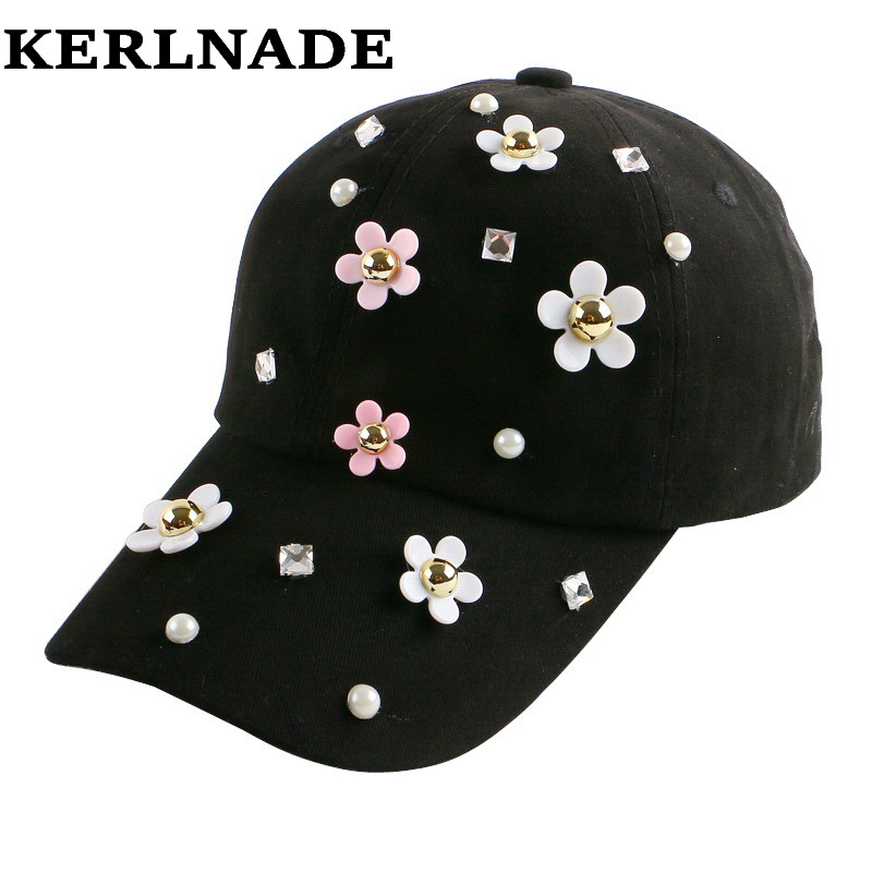 2016 new fashion daisy flower heel decorated hip hop denim outdoor casual summer brand snapback hat baseball cap for women girl
