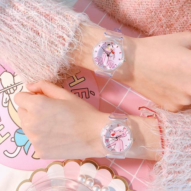 Top Brand Transparent Pink Panther Women Bracelet Watches Fashion Women Dress Wr