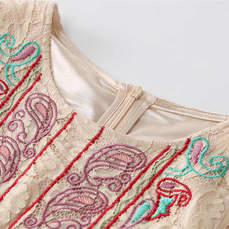 Vestido largo de encaje de alta calidad de moda étnico de lujo de mujer 2018 bordado delgado de verano Vintage de pasarela