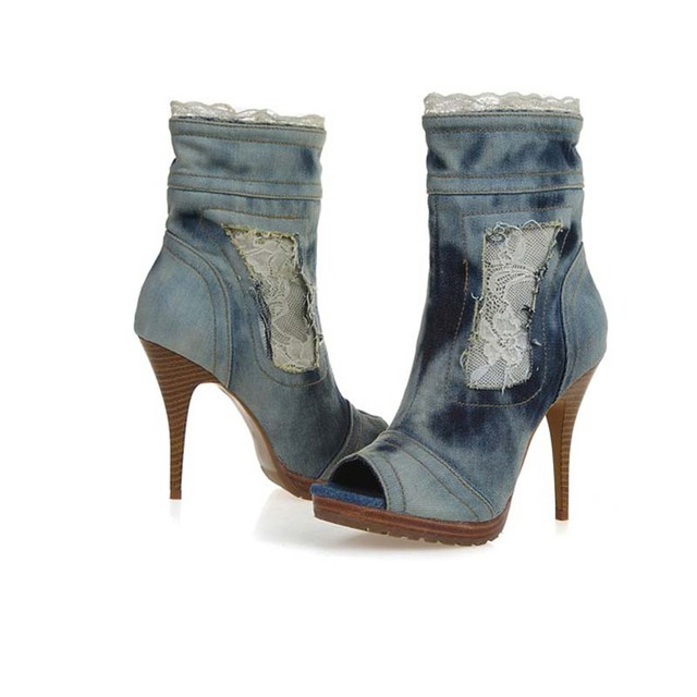 2017 fashion side zipper peep toes denim lace high heels ankle boots open toe booties hot sexy women pumps heeled cowboy shoes