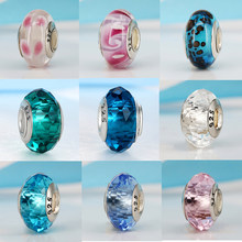 2019 Free Shipping European Colorful Lampwork Glass Beads Murano Aolly Charm Bead Fit Pandora For Girl DIY Bracelets & Bangles(China)