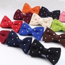 Вязаный мужской галстук-бабочка, мужской галстук-бабочка в горошек для отдыха, мужские галстуки-бабочки для свадьбы, вечеринки, полосатый Свадебный галстук-бабочка бордового цвета