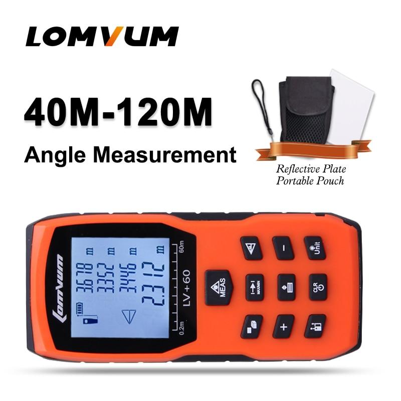 LOMVUM trena matavimo juosta medidor Lazeriniai liniuotės nuotolio matuokliai Skaitmeninis atstumo matuoklis 100M matavimo diapazono ieškiklis lazer metreler