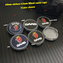 4pcs 60/62/63mm for Saab 9-3 9-5 9-2x 9-5x 9-4x 9-7x 9000 sAAB Car Wheel Center Hub Cap 2.36 sticker decals blue/carbon black