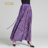 VOA Silk Maxi Long Skirts Women Purple Elegant Print Plus Size 5XL Pleated Skirt Belt Boho Casual A Line Summer Runway CLA00901
