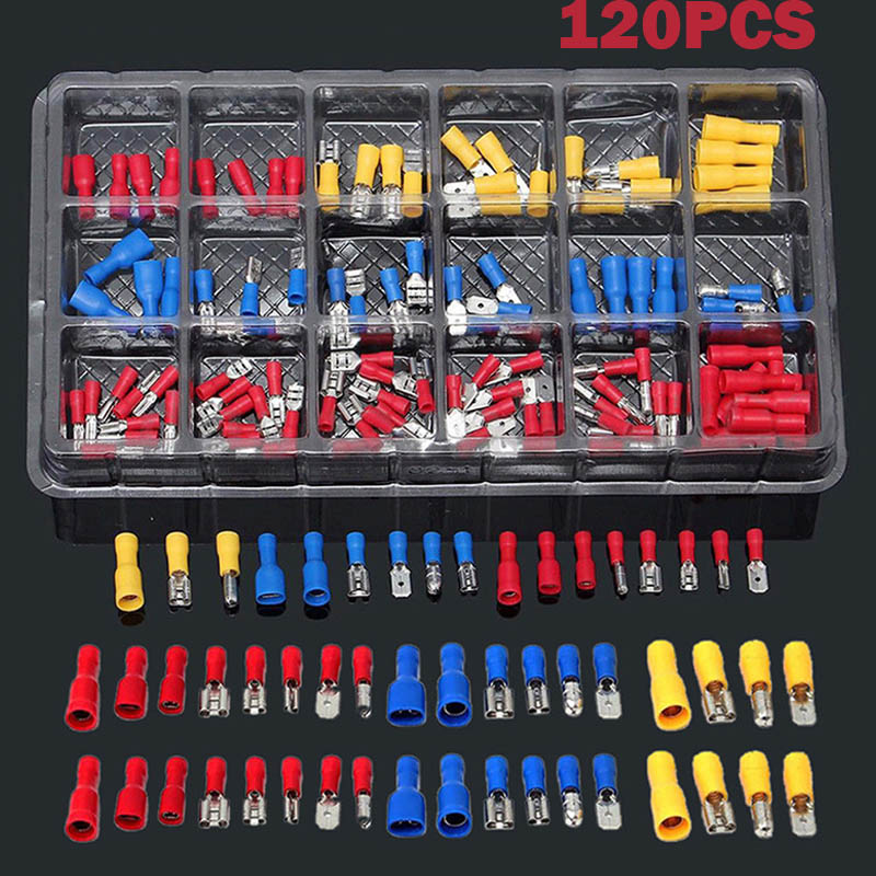 Newest Electrical Assorted Insulated Wire Cable Terminal Crimp Connector Spade Set Kit @8 200pcs insulated assorted electrical wire terminal crimp connector spade set tube