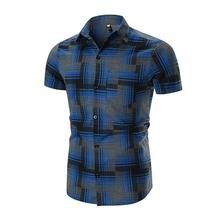 Striped Plaid Shirts Mens Pocket design Casual Shirt Men Short sleeve Blouse Red Blue