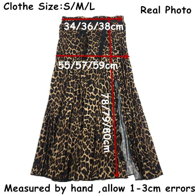 2019 Leopard Pleated Skirt with Bow Belt High Street Women Animal Print Midi Skirts 6