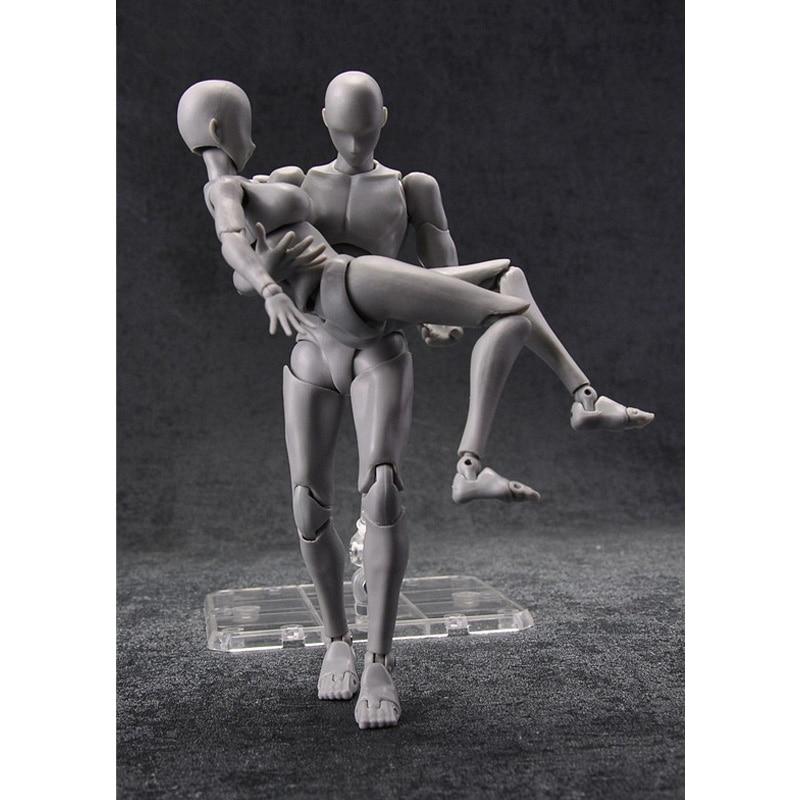 BODY KUN / BODY CHAN Action Figure DX Set Grey Color Ver. Big Size Toys 27cm(China)